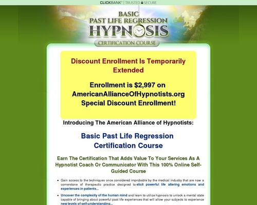 Basic Past Life Regression Hypnosis Certification Course